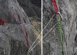 Ticking all the boxes and ful lling the fundamental principles. This bottom rop setup has the anchors,belay and climber all in line and pulling the anchors in the right direction. The anchors are solid and linked to make them equalised and independent, on top of all this the angles between the anchors is acute.