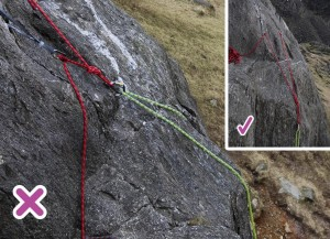 The belay on the left is not extended far enough so the climbing rope is going to rub over the rock. This will damage the rope and make it harder to belay. Sometime this might cause the rope to jam. The inset belay on the right is well extended and will mean the climbing rope is not damaged.