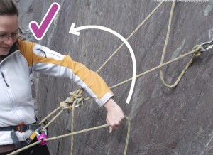 A correctly aligned belay plate for belaying from the top of the crag or pitch