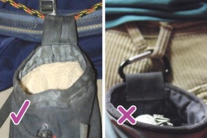 You are better to attach your chalk bag to you with a piece of cord, preferably one of 7mm or more (Left) rather than clipping it on with a carabiner (right). This means not only can you move the bag round to your front in a chimney or confined corner, but you will also have something to abseil off if the weather changes when you are climbing.