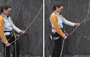 When you are belaying a lead climber you need to pay out the rope as they need it and take it in as well. To aid this you can take a step into and away from the wall when necessary.