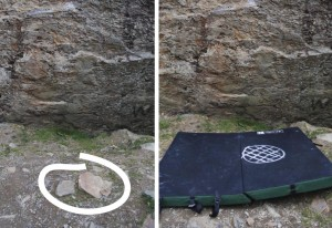 Using chalk to mark the spot where an ankle twisting boulder is hidden. Hopefully yo help you avoid landing on it.