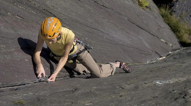 Belaying a lead Climber