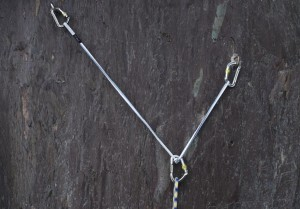 A well equalise sling using the overhand on the sling method to ensure the angle is below 90 degrees.