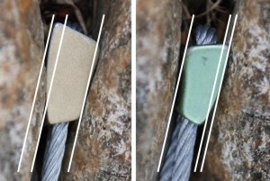 When place a wire look for good overlap, so that the widest part of the wire is bigger than the thinnest part of the crack. The left golden wire has better overlap than the green one on the right.