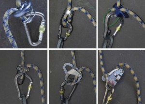 A variety of belay devices. Top Left: A Sprung stitch plate; Top middle: A burette, a micro belay device for skinny ropes; Top right: A metolius BRD with a degree of assistance when it comes to locking the rope off; Bottom Left: Stainless steel belay device with grooves for added friction; Bottom Middle: Petzel reverse Mk1, which can be used as a guide plate; Bottom Right: Petzl Gri-Gri an almost 'auto-locking device, it needs proper instruction as it can be used incorrectly.