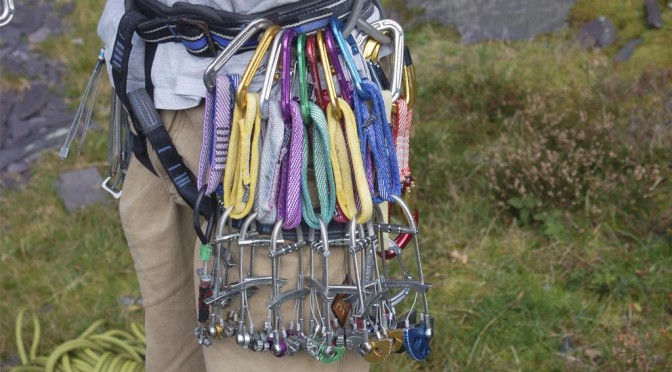 A fully loaded Trad climbing harness