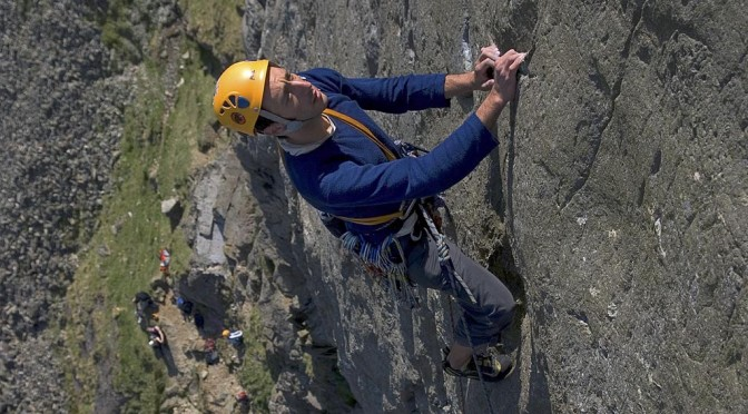 Lead climbing on Super-Direct on Dinas Mot, Llanberis Pass, North Wales