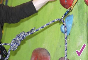 A correctly clipped quickdraw. Where the rope runs up the wall and up out of the front of the karabiner to the climber. Another way to visualise this correct alignment s a little boy pissing into a pot.