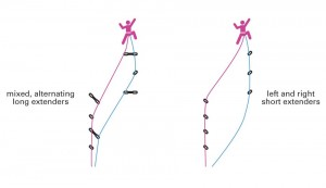 Two ways to use double ropes when climbing. Both work and help reduce rope drag.