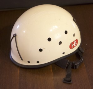 An old hard shell helmet from a previous generation. These were the original head protection.